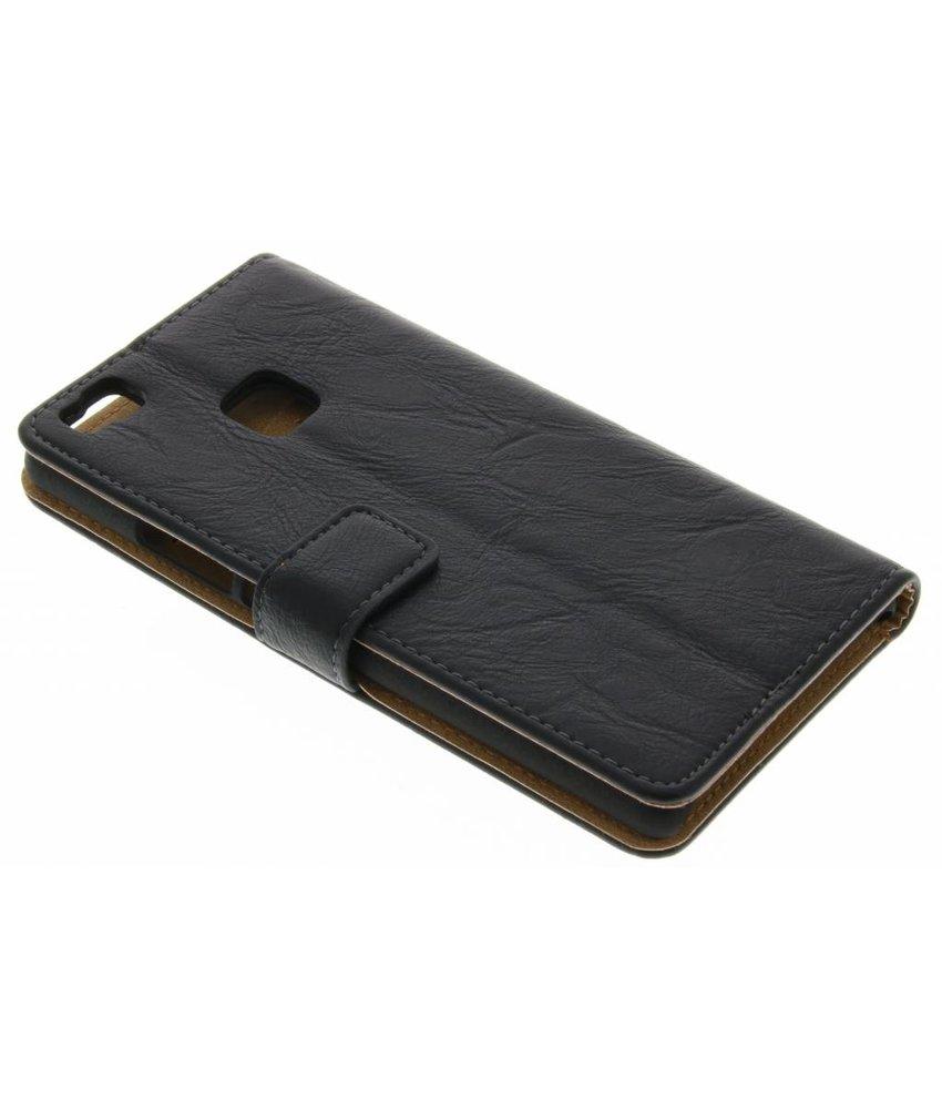 Zwart kreukelleder booktype hoes Huawei P9 Lite