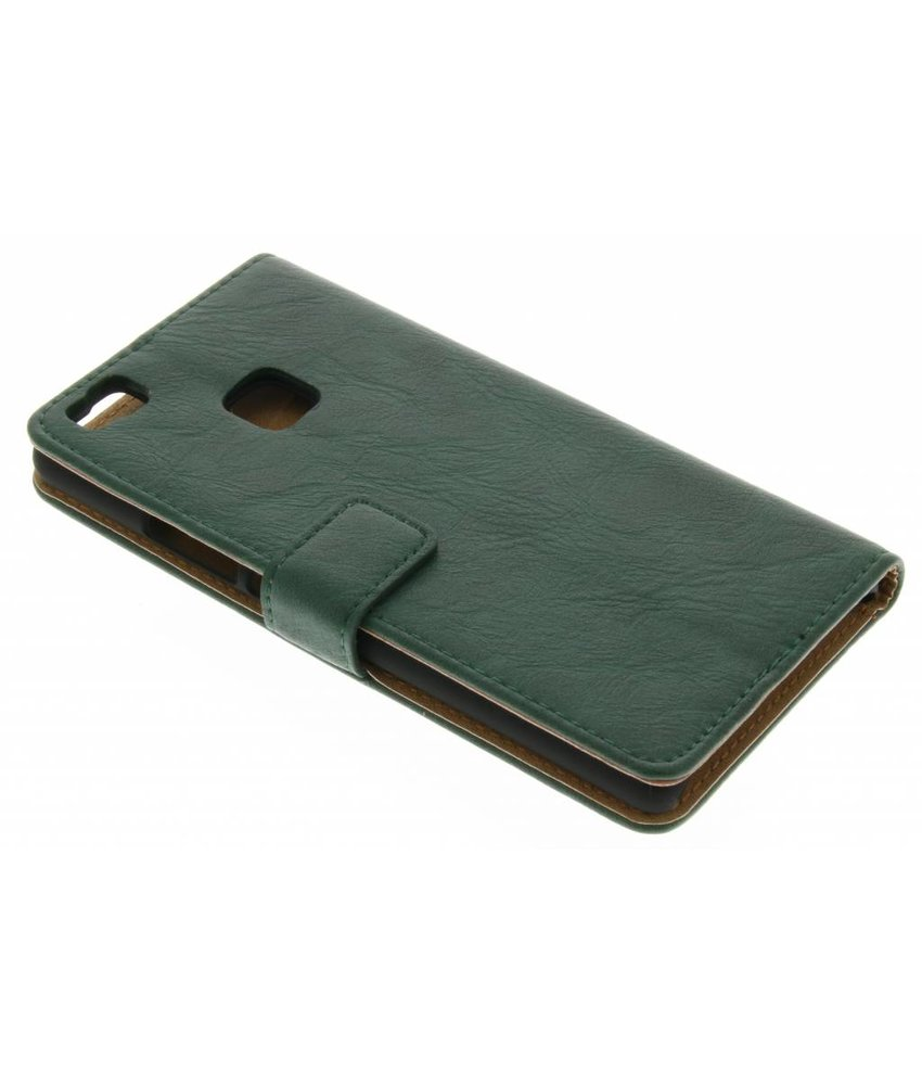 Groen kreukelleder booktype hoes Huawei P9 Lite