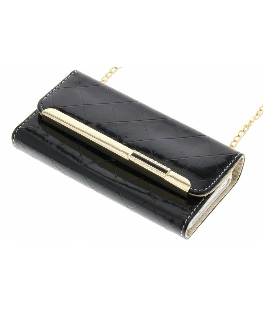 Zwart glossy portemonnee hoesje iPhone 5 / 5s / SE