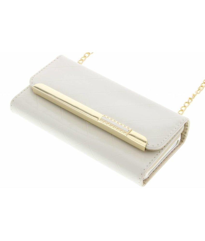 Wit glossy portemonnee hoesje iPhone 5 / 5s / SE