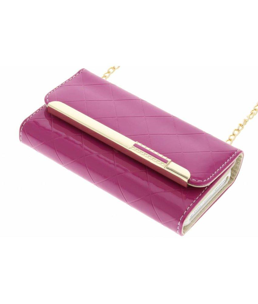Fuchsia glossy portemonnee hoesje iPhone 5 / 5s / SE