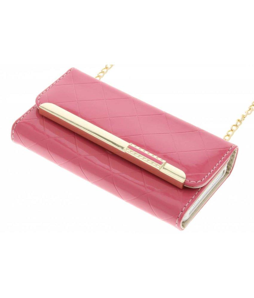 Roze glossy portemonnee hoesje iPhone 5 / 5s / SE