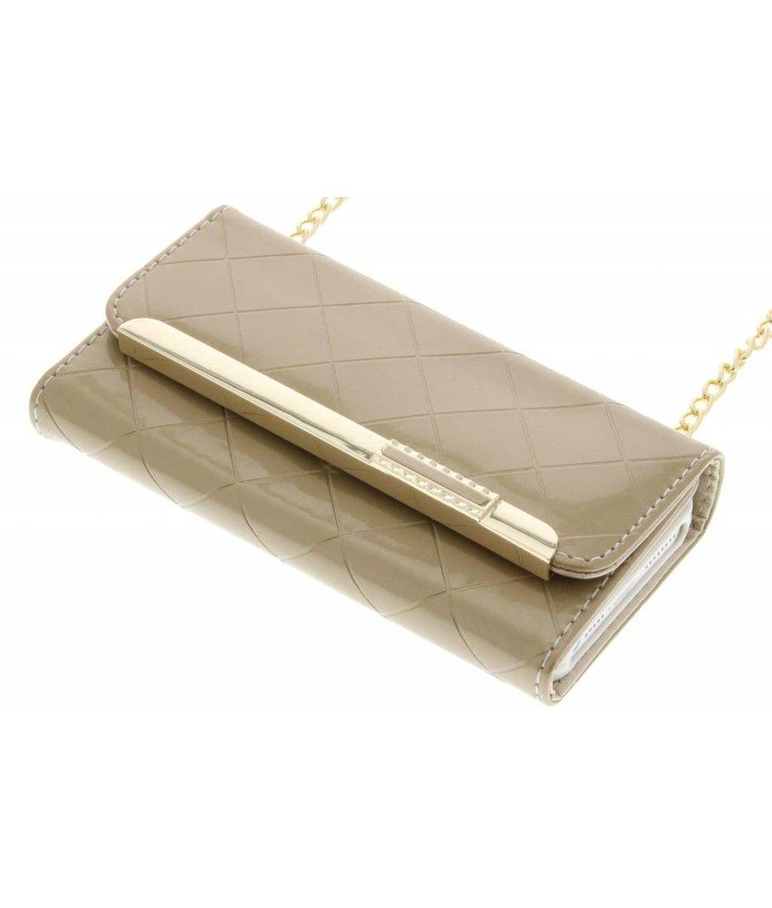 Goud glossy portemonnee hoesje iPhone 5 / 5s / SE