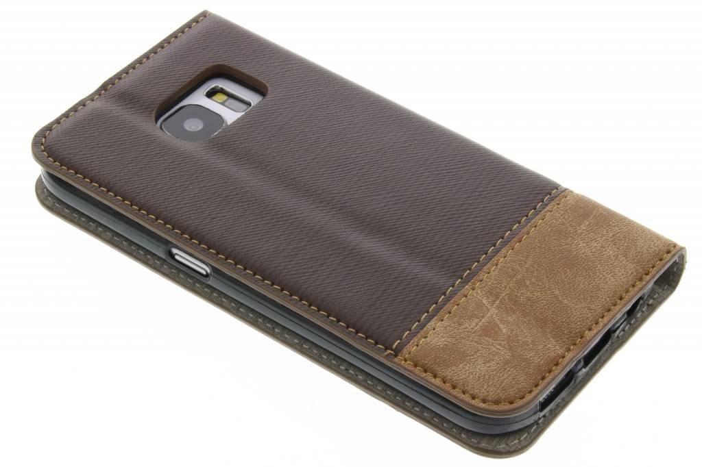 Denim Brun Couverture De Type Lookbook Pour Samsung Galaxy S7 09Nht
