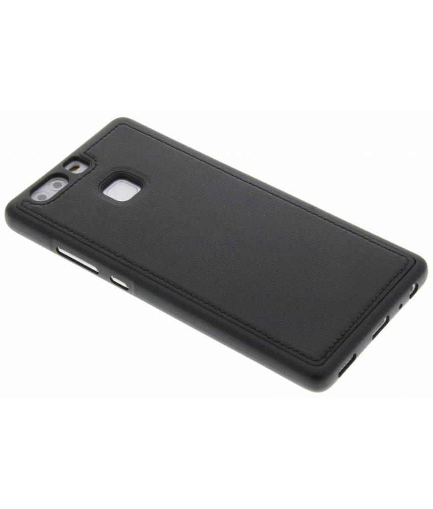 Zwart lederen TPU case Huawei P9