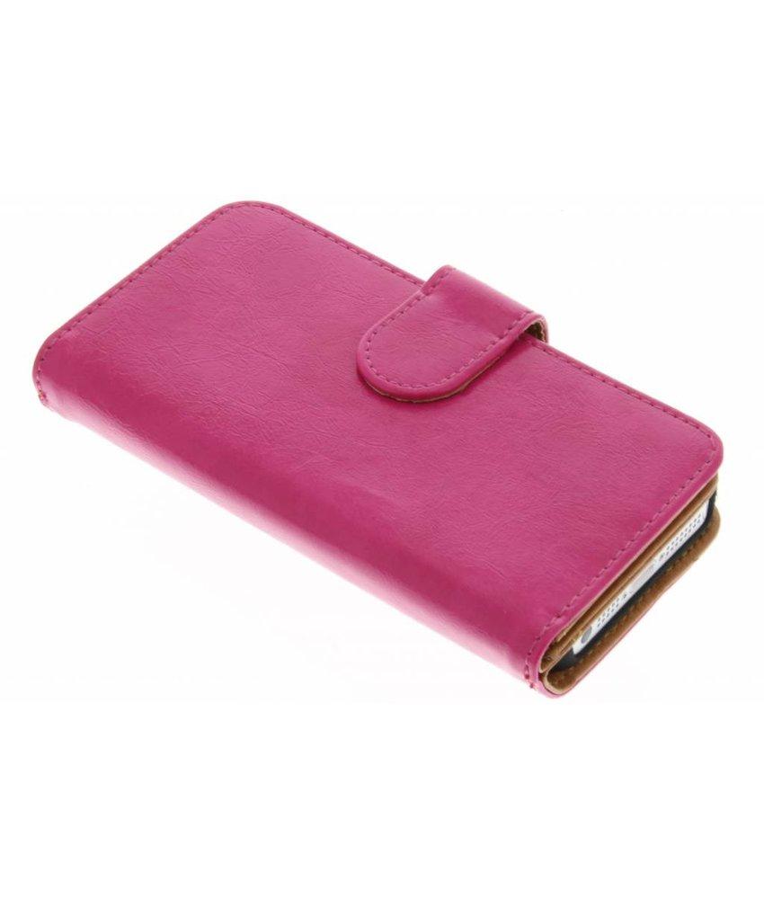 Fuchsia 11-vaks wallet case iPhone 5 / 5s / SE