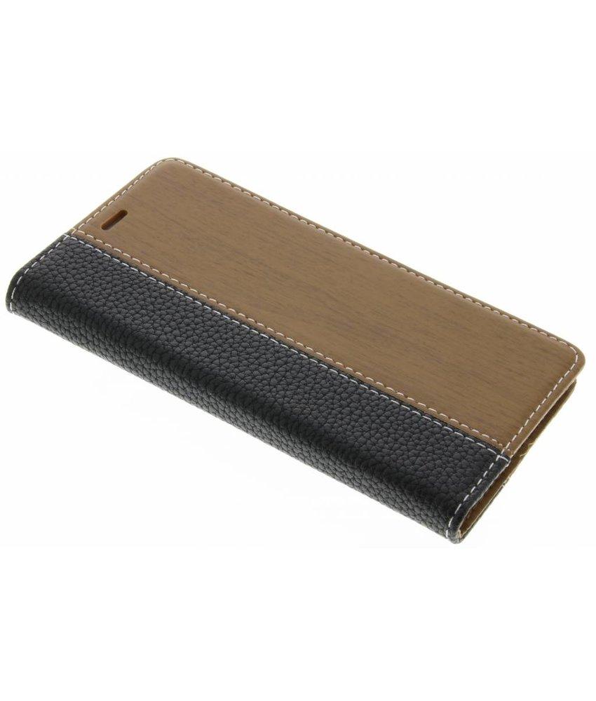 Zwart hout lederen design booktype hoes Huawei P9