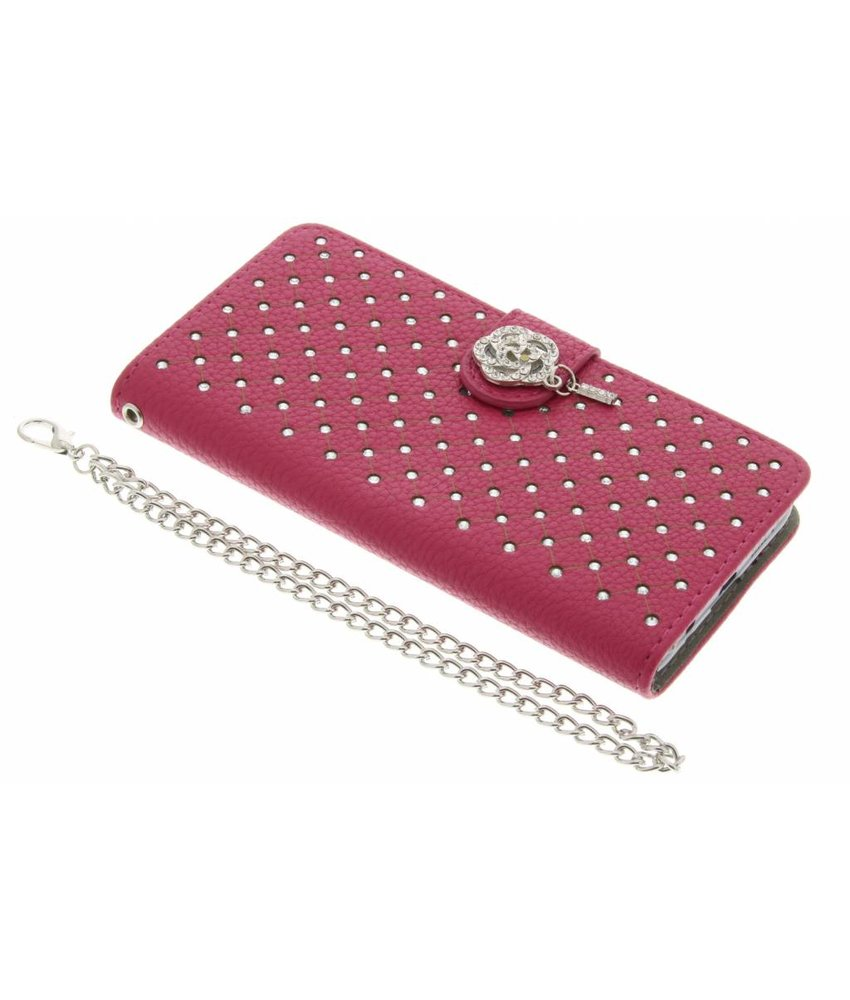Fuchsia chique strass booktype hoes Samsung Galaxy A3 (2016)