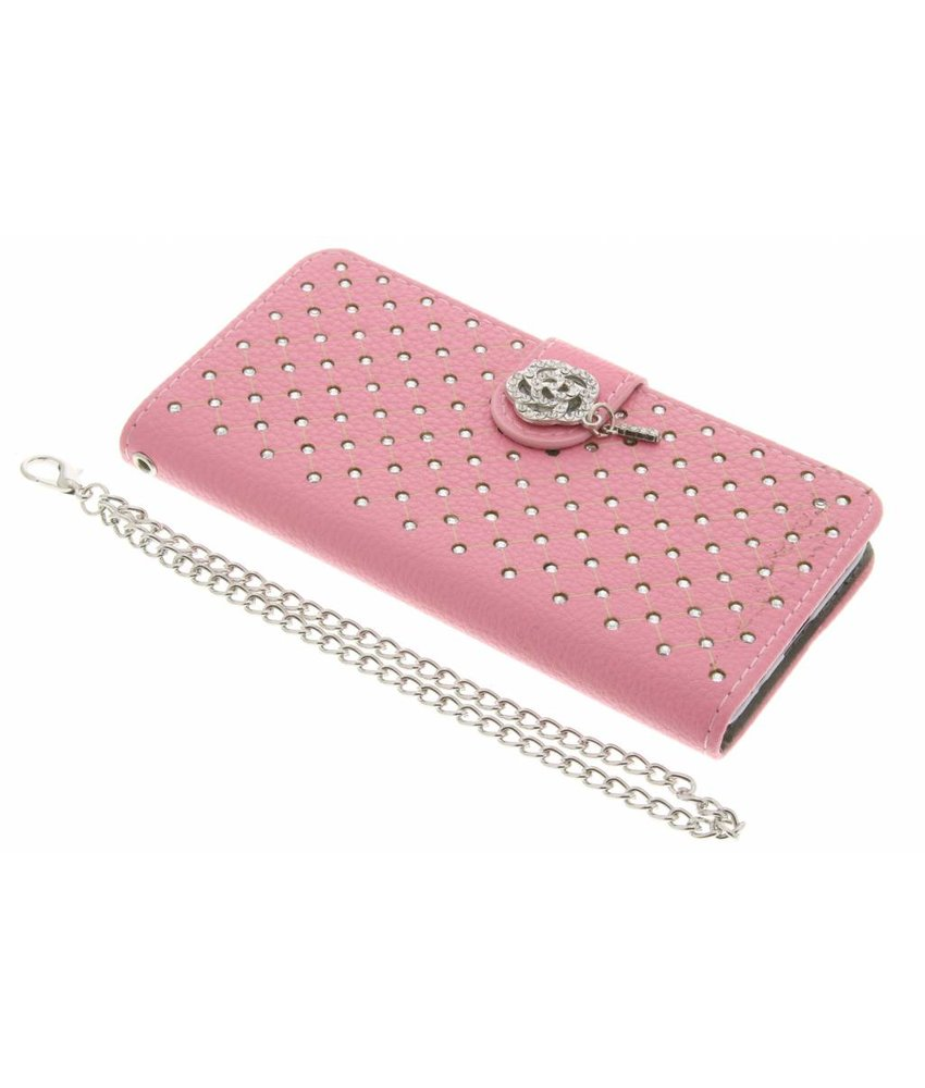 Roze chique strass booktype hoes Samsung Galaxy A3 (2016)