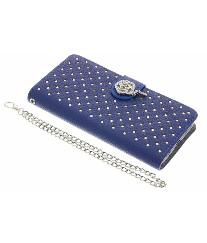 Blauw chique strass booktype hoes Samsung Galaxy A3 (2016)