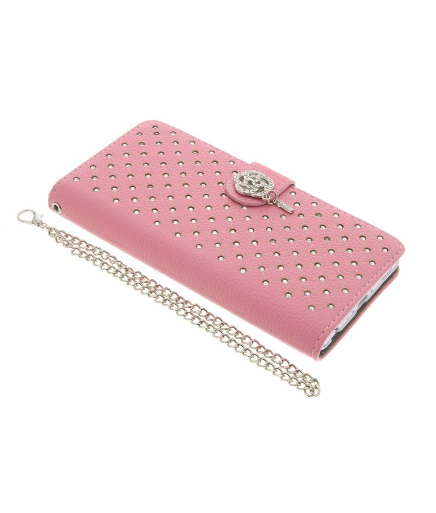 Roze chique strass booktype hoes Huawei P9