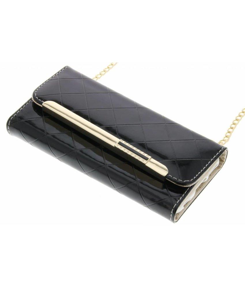 Zwart glossy portemonnee hoesje iPhone 6 / 6s