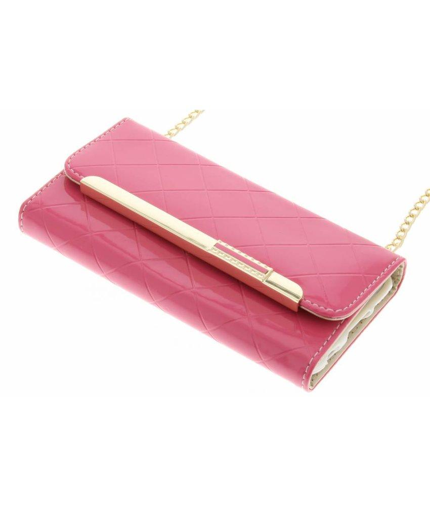 Roze glossy portemonnee hoesje iPhone 6 / 6s