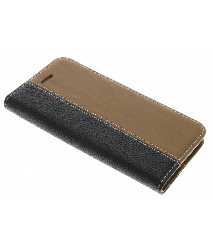 Zwart hout lederen design booktype hoes iPhone 6 / 6s