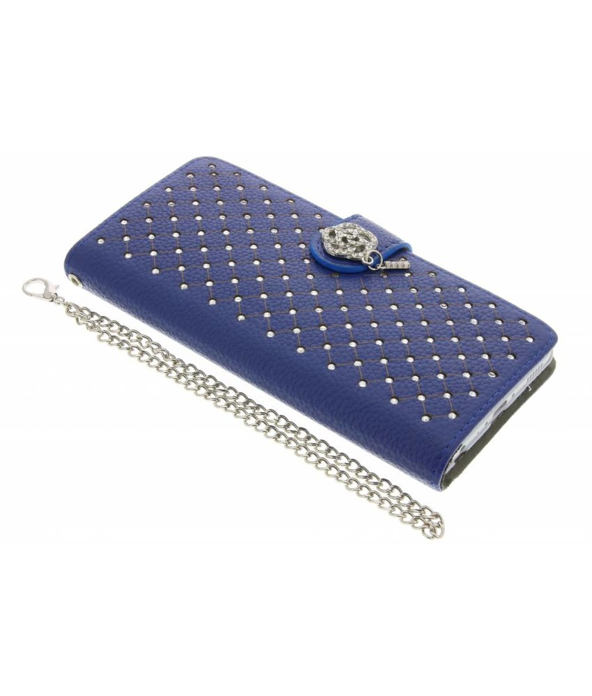 Blauw chique strass booktype hoes Huawei P8 Lite