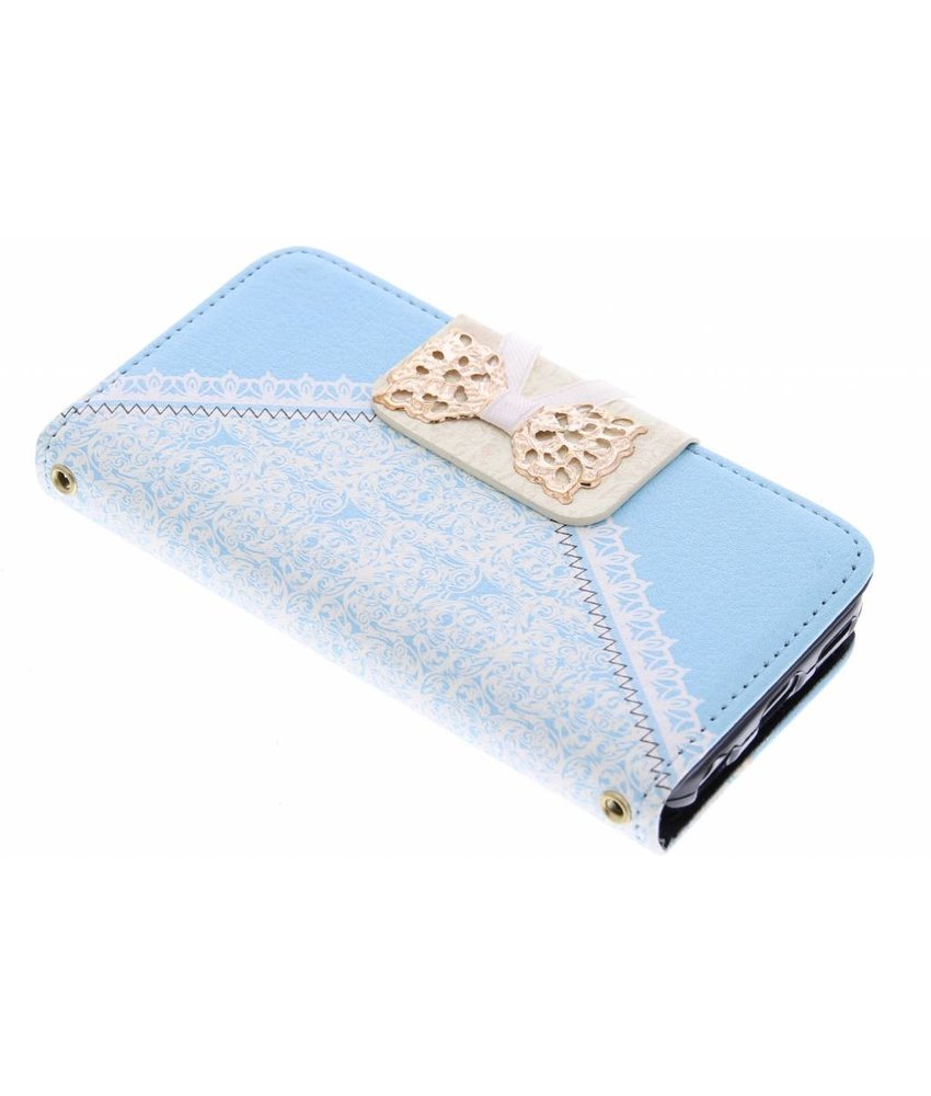 Blauw sierlijke booktype hoes iPhone 5c