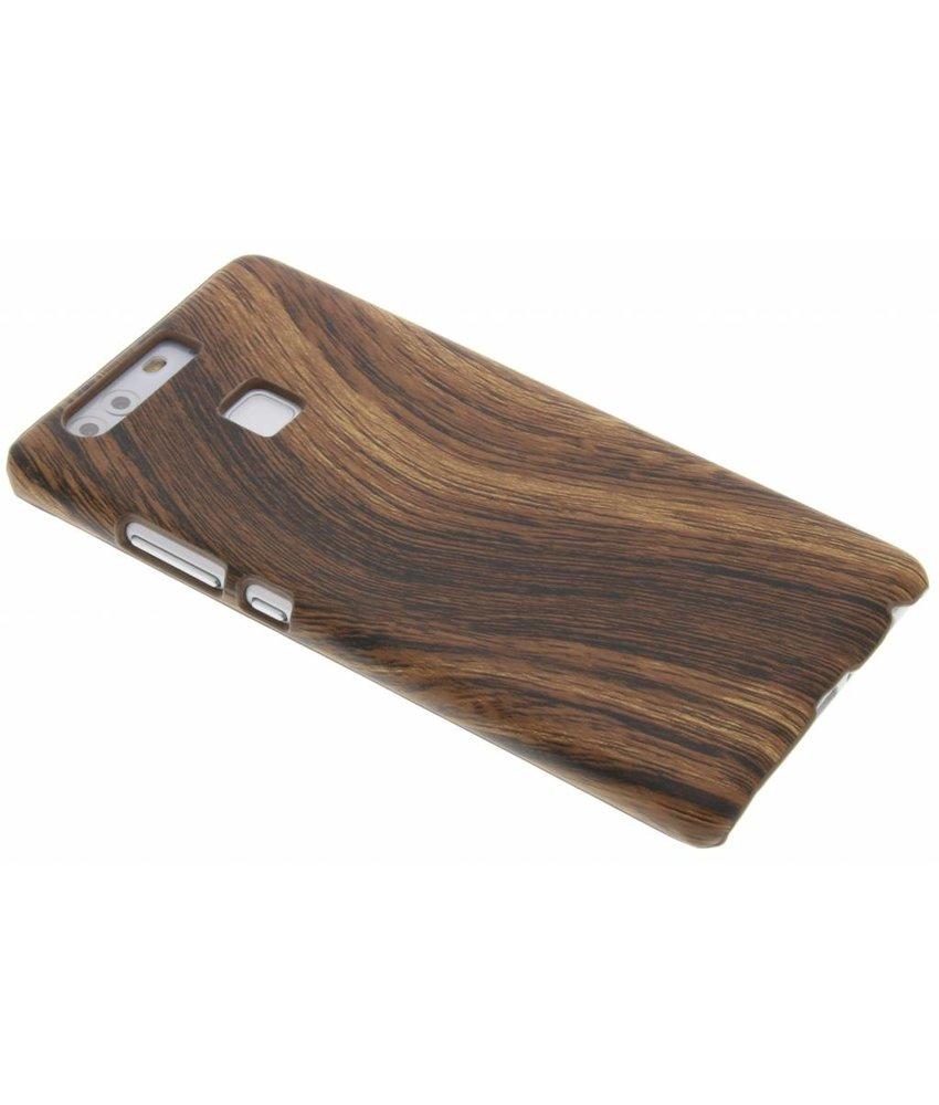 Donkerbruin hout design hardcase hoesje Huawei P9