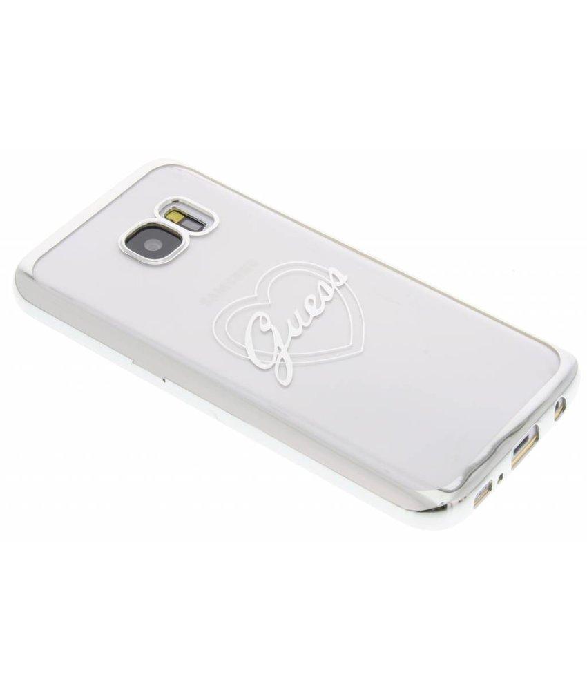 Guess Signature Heart TPU Case Galaxy S7 - Zilver