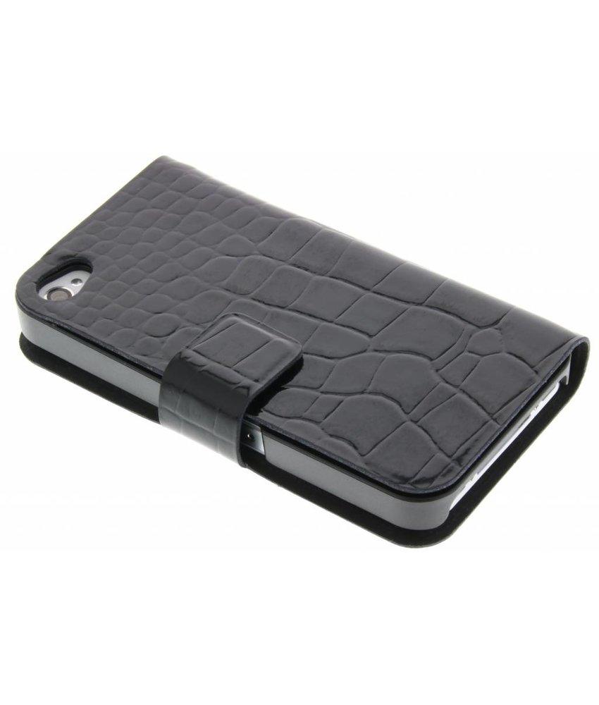Zwart glanzend krokodil booktype hoes iPhone 4 / 4s
