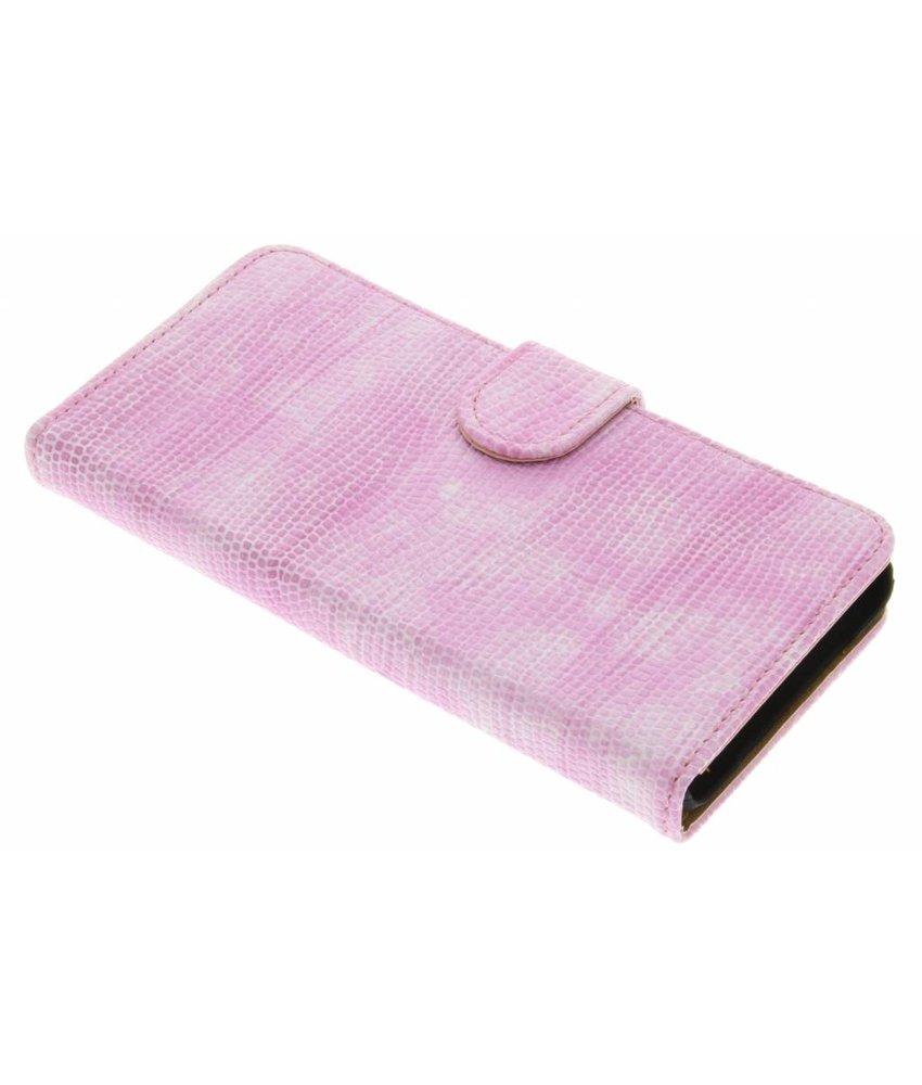 Roze hagedis design booktype hoes OnePlus X