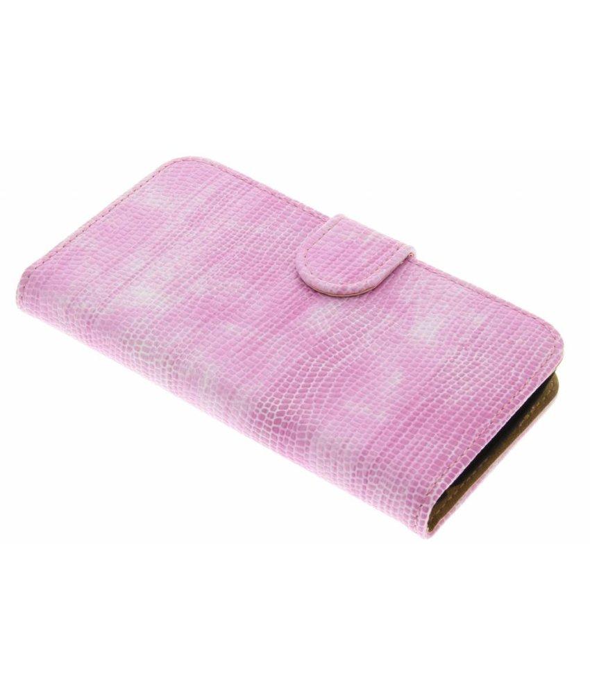 Roze hagedis design booktype hoes LG K4