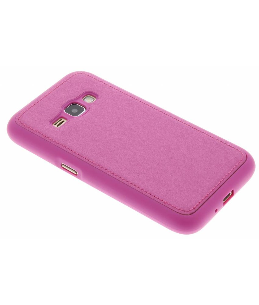 Fuchsia metallic lederen TPU case Samsung Galaxy J1 (2016)