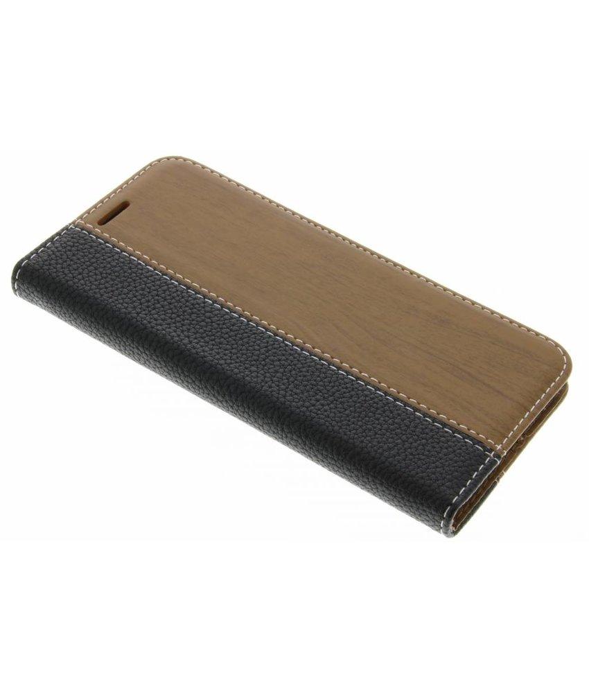 Zwart hout leder design booktype hoes LG G5 (SE)