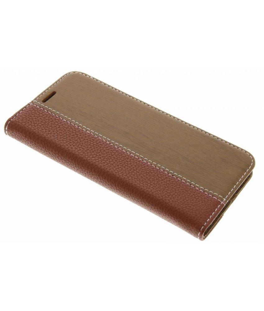 Bruin hout leder design booktype hoes LG G5 (SE)
