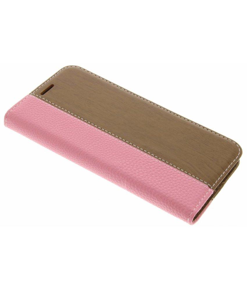 Roze hout leder design booktype hoes LG G5 (SE)