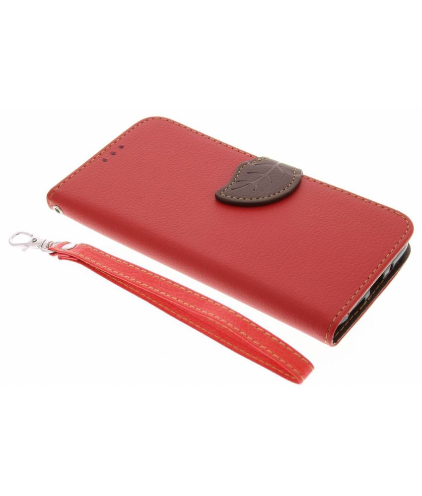 Rood blad design TPU booktype hoes LG G5 (SE)