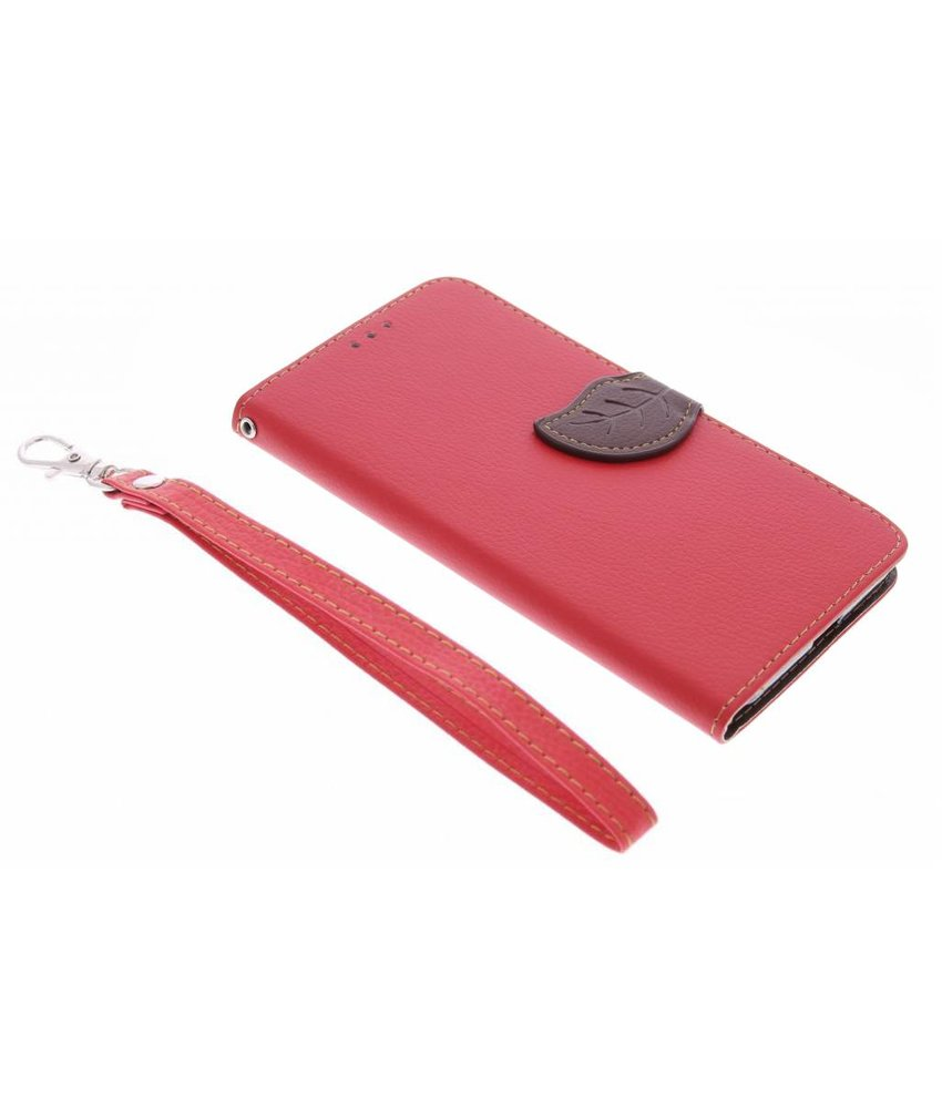 Rood blad design booktype hoes LG Nexus 5X