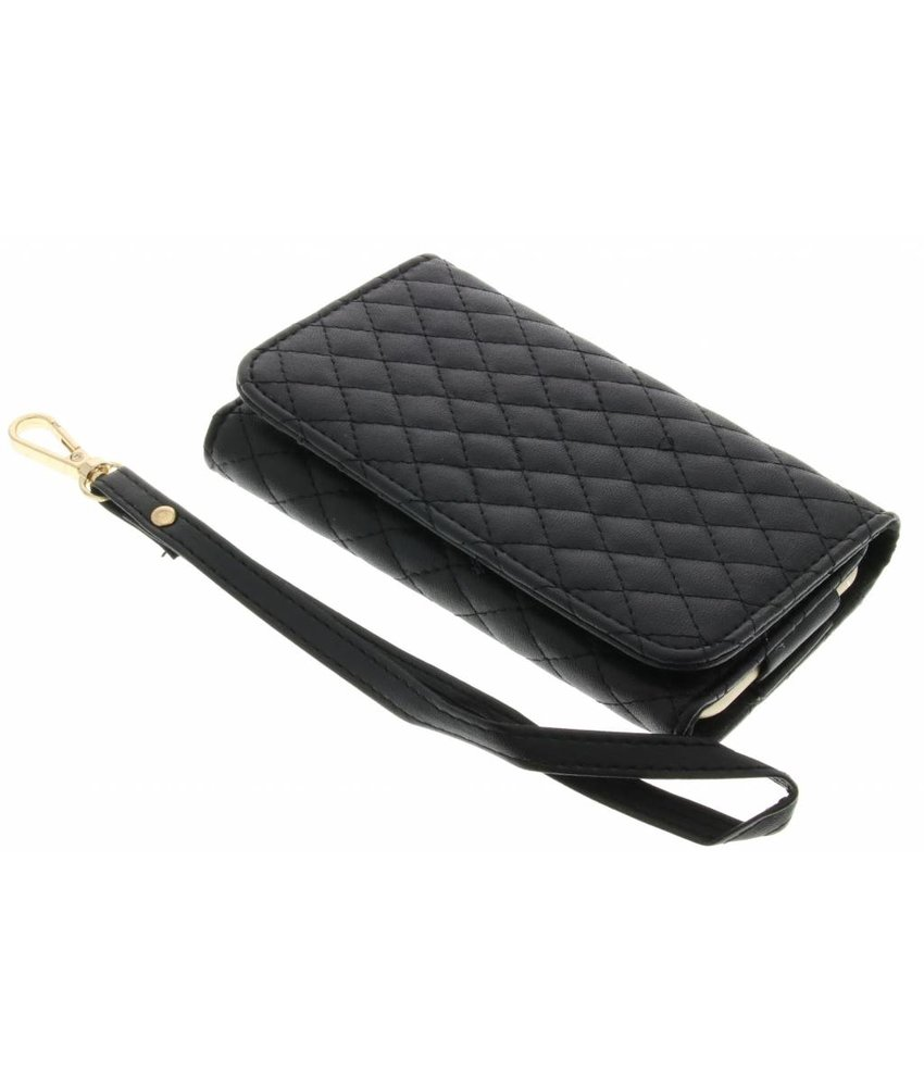 Zwart gestikt kunstleder portemonnee telefoonhoesje (groot)