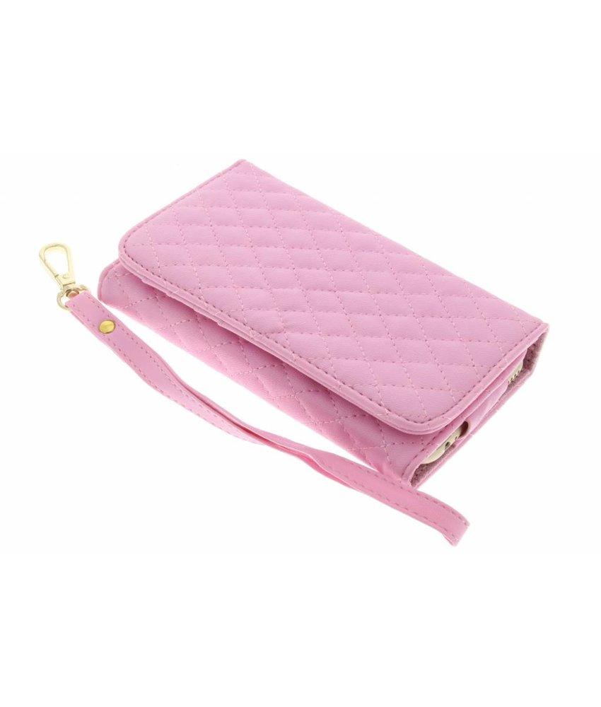Roze gestikt kunstleder portemonnee telefoonhoesje (groot)