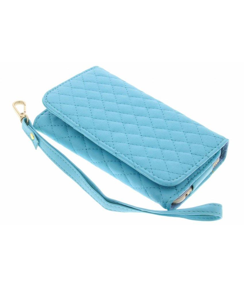 Turquoise gestikt kunstleder portemonnee telefoonhoesje (klein)