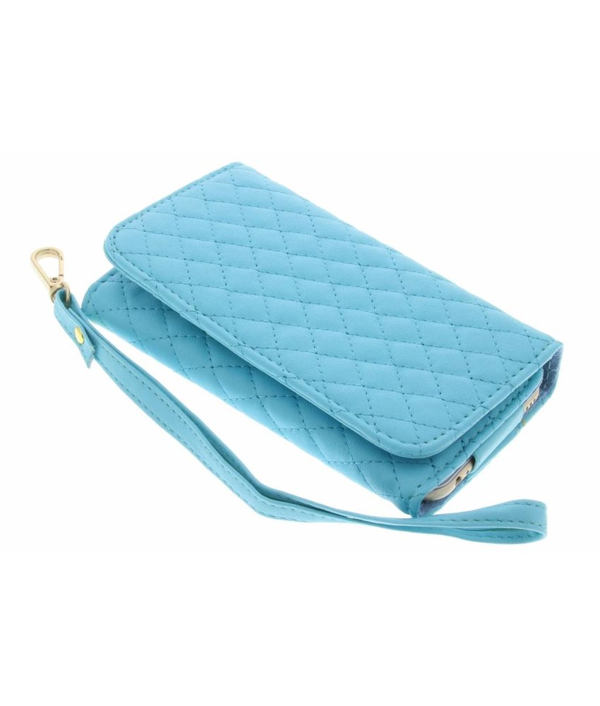 Turquoise gestikt kunstleder portemonnee telefoonhoesje (medium)