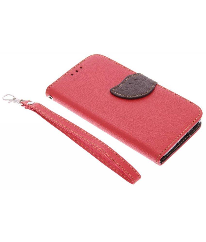 Rood blad design TPU booktype hoes Samsung Galaxy Alpha