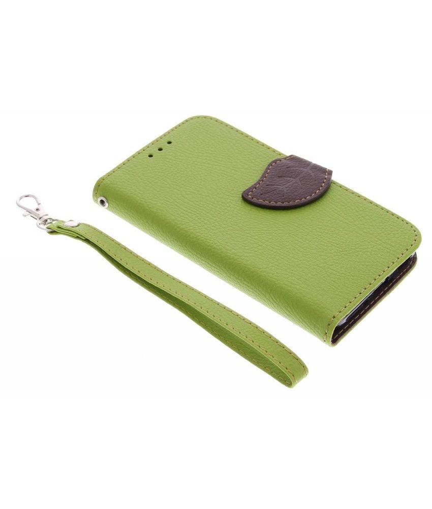 Groen blad design TPU booktype hoes Samsung Galaxy Alpha
