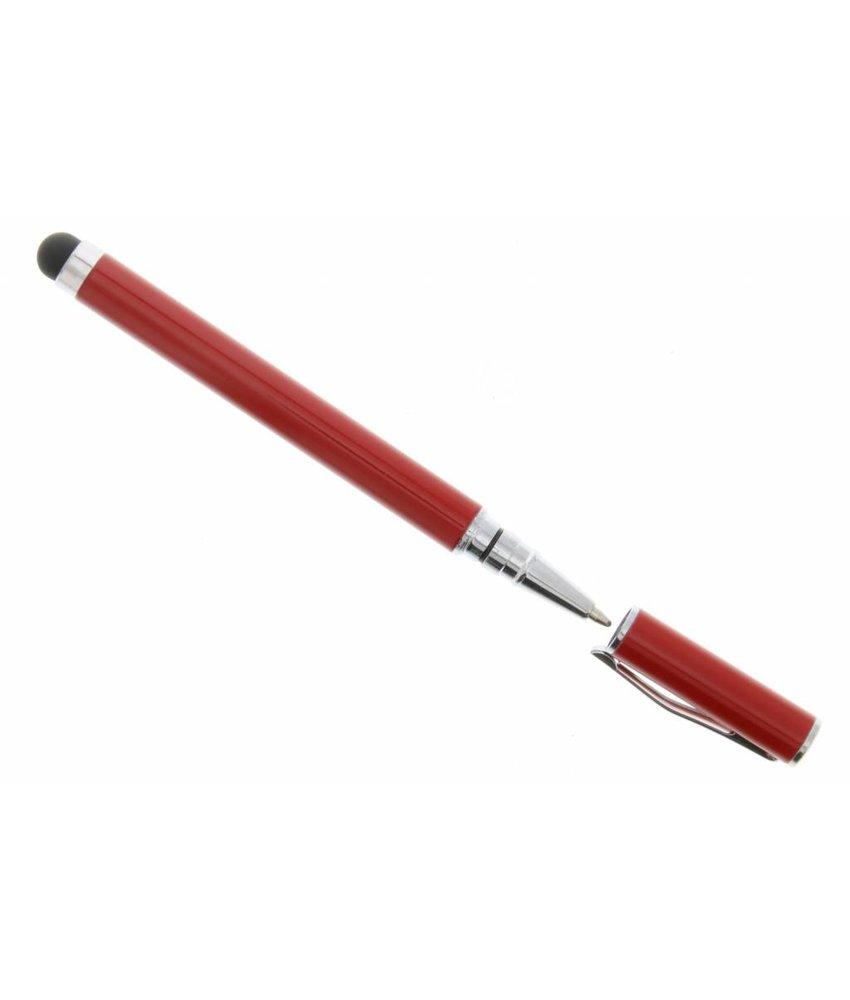 Compacte stylus pen met balpen - Rood