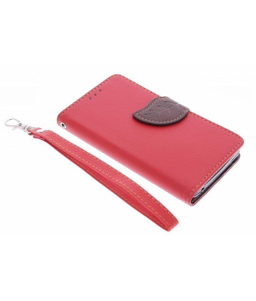 Rood blad design TPU booktype hoes Acer Ascend Z630