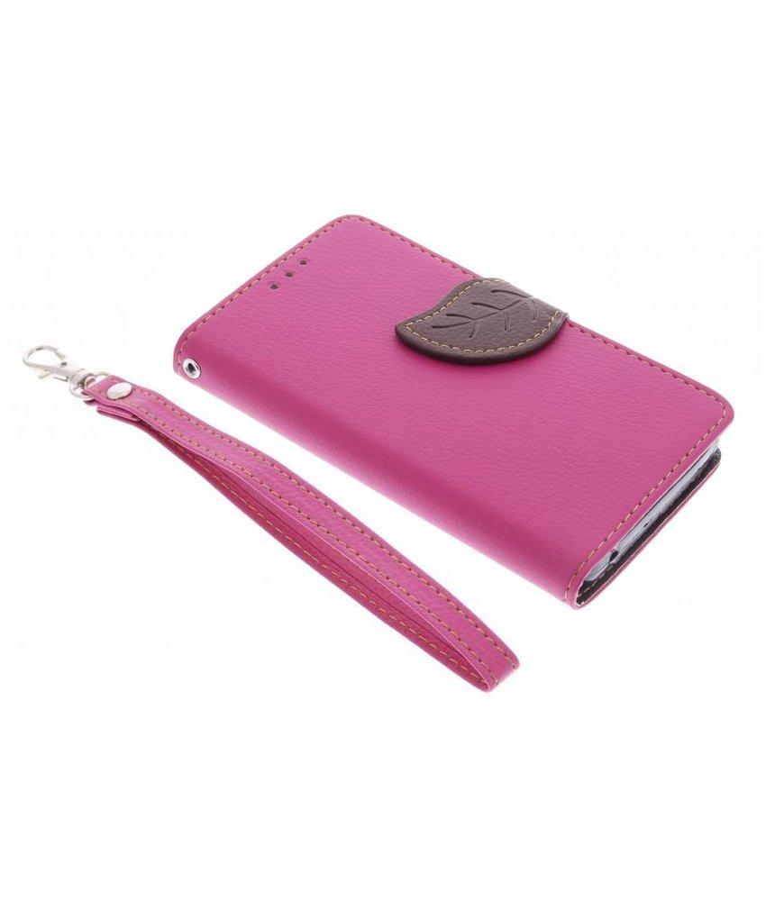 Roze blad design TPU booktype hoes Acer Ascend Z630