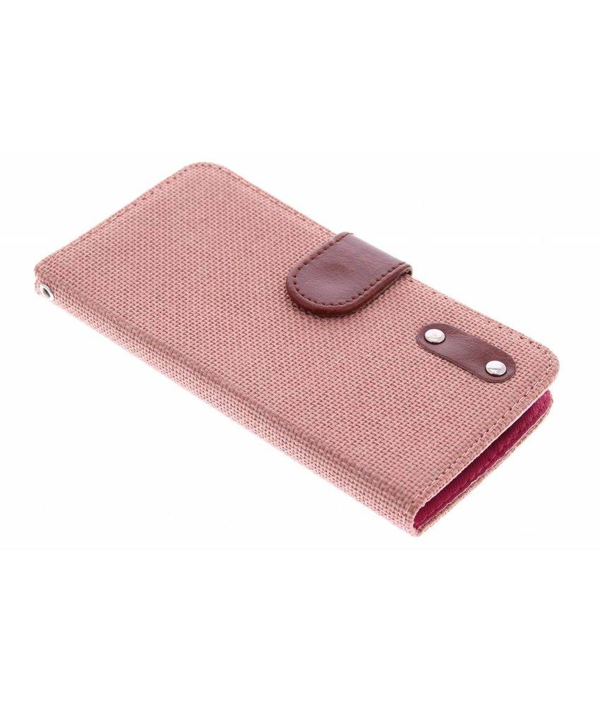 Zalmroze linnen look TPU booktype hoes LG L Bello / L80 Plus