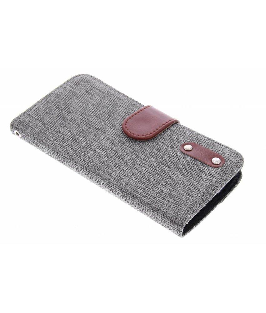 Donkergrijs linnen look TPU booktype hoes LG L Bello / L80 Plus