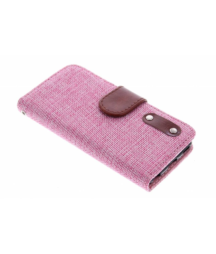 Roze linnen look TPU booktype iPod Touch 5g / 6