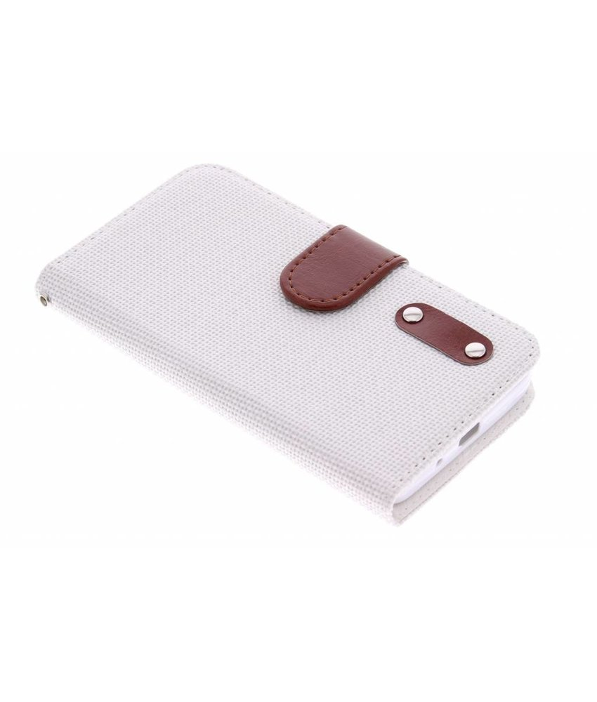 Wit linnen look TPU booktype hoes Huawei Ascend Y530