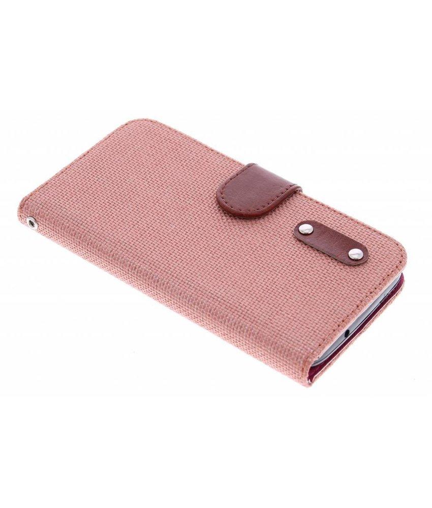 Zalmroze linnen look TPU booktype hoes Huawei Y625