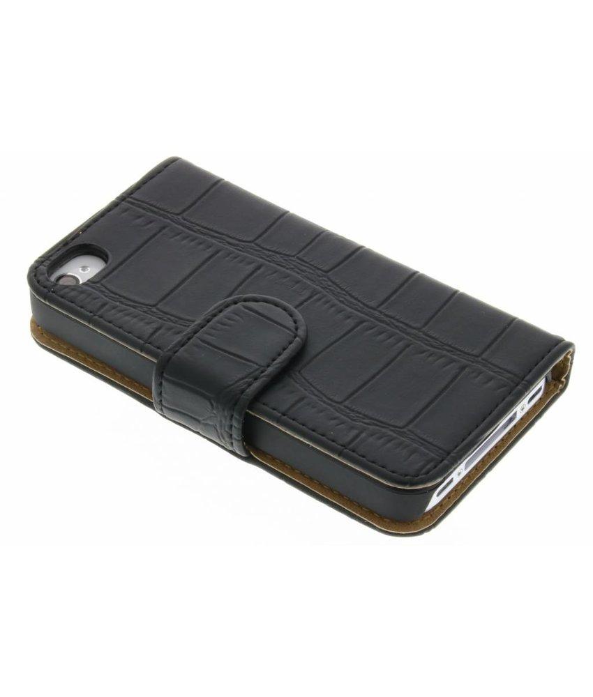 Zwart krokodil booktype hoes iPhone 4 / 4s