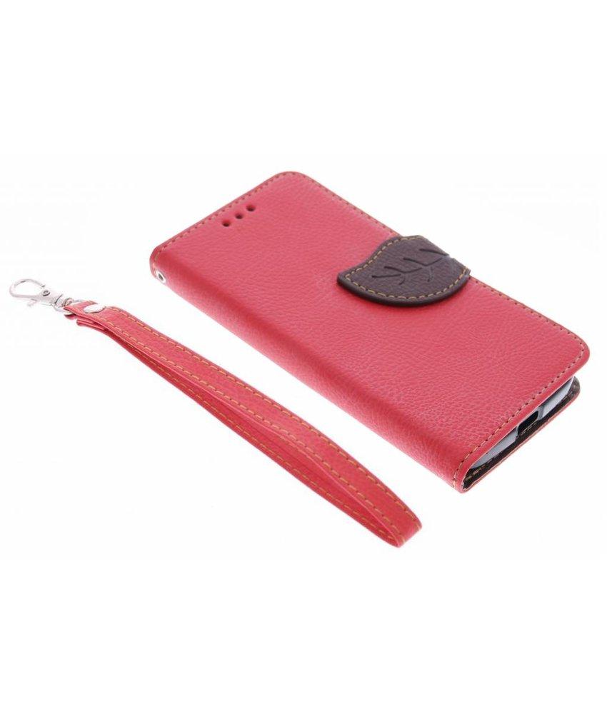 Rood blad design TPU booktype hoes Motorola Moto X