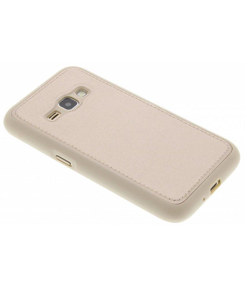 Goud metallic lederen TPU case Samsung Galaxy J1 (2016)