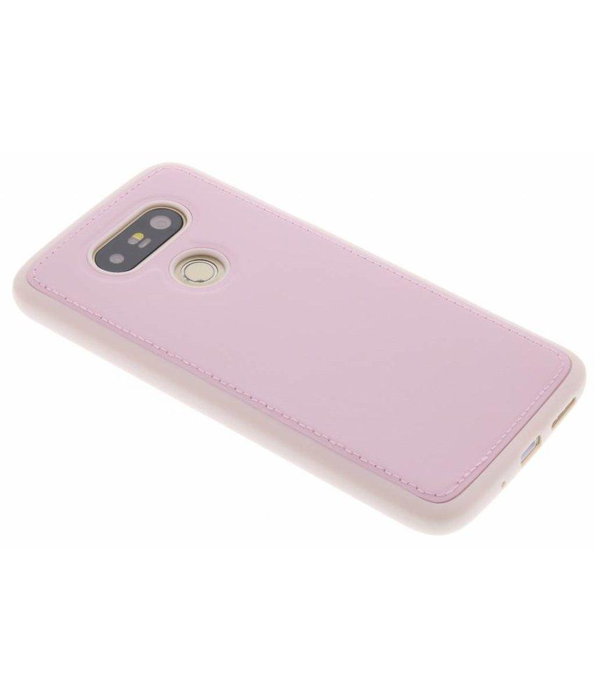 Roze lederen TPU case LG G5 (SE)