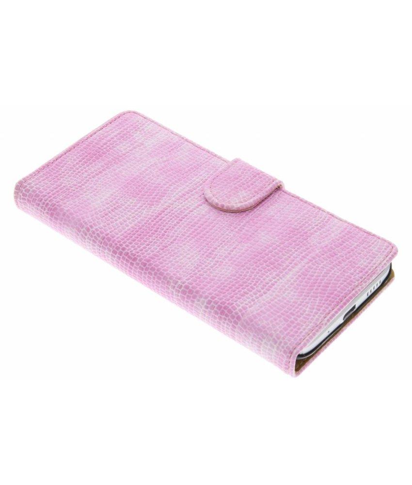 Roze hagedis design booktype hoes HTC 10